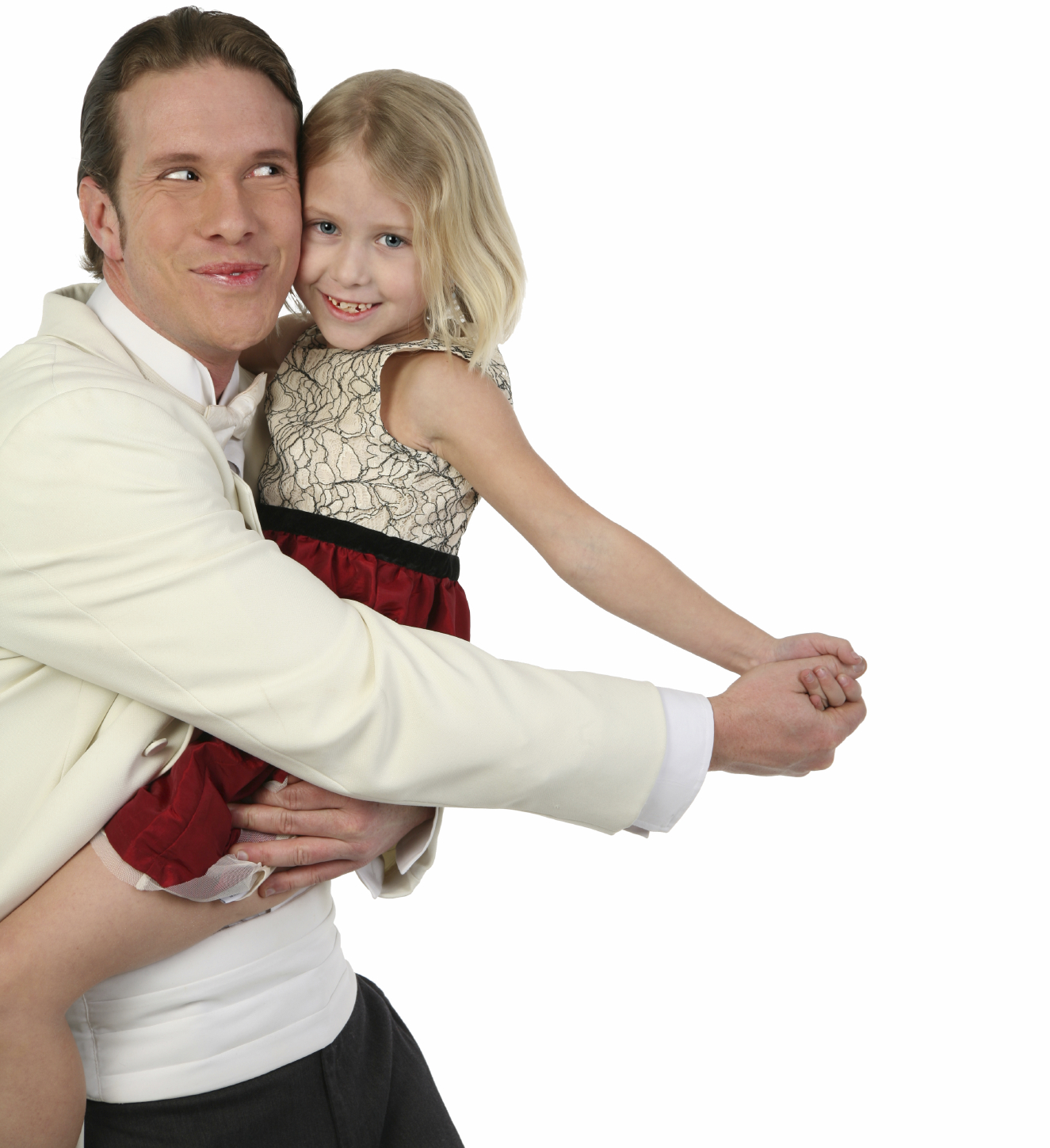 Father and daughter dancing in formals being silly